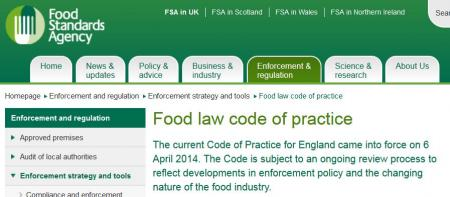 The Food Law Code of Practice (England)