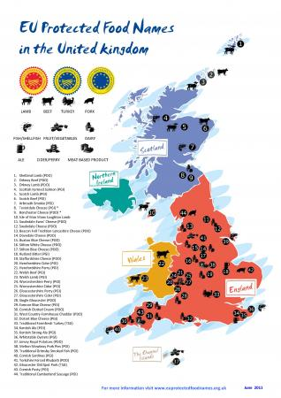 Map of UK protected food names